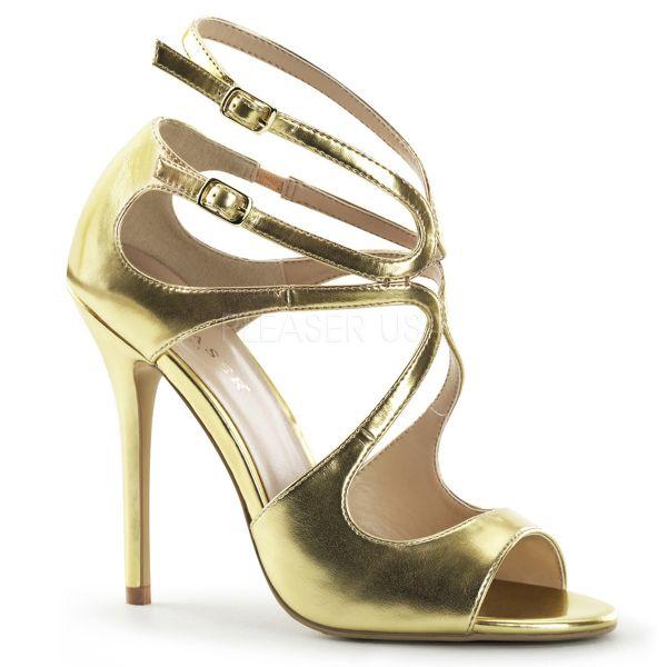 AMUSE-15 High-Heel Sandalette mit Riemchen in gold Kunstleder